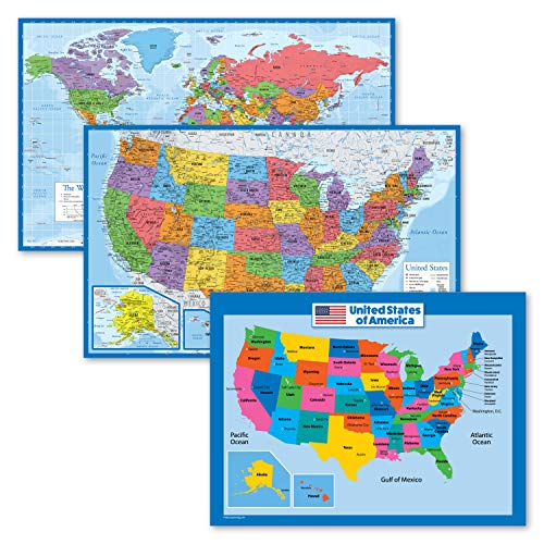 3 Pack - World & USA Map Poster Set [Blue Ocean] + USA Map Chart for Kids (Laminated, 18' x 29')
