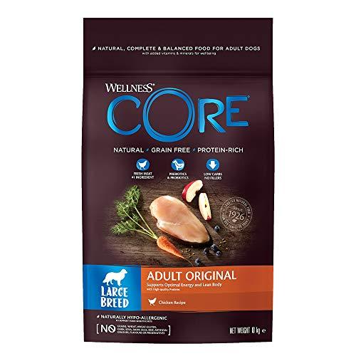 Wellness CORE Large Breed Original, Hundefutter trocken getreidefrei, für große Rassen, hoher Fleischanteil, ohne künstliche Zusatzstoffe - Huhn, 10 kg