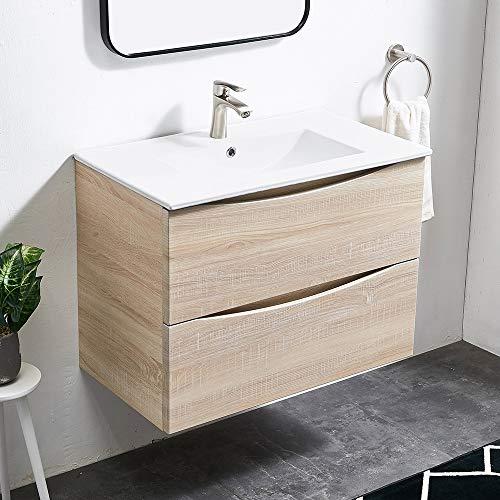 Lutriva Moderner Holzmaserung Weiß Waschtisch Unterschrank, Badmöbel Waschbecken mit Waschbeckenunterschrank Hängend,B x H x T: 80 x 59 x 47 cm Badezimmerschrank,Mit Viel Stauraum Badmöbel