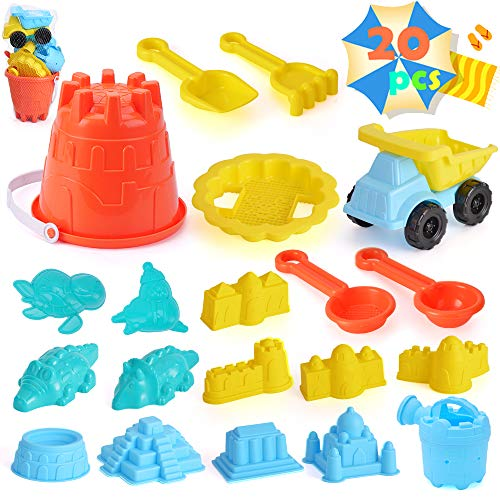 unanscre 20Pcs Beach Sand Toys Set for Kids Includes Toy Dump Truck  Beach Bucket  Sieve  Watering Can  Shovel Tool Kits  Animal/Castle Models&Molds in A Mesh Bag for Age3+ Toddlers Outdoor Yard Play