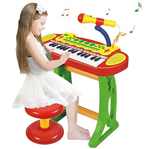 BAKAJI Pianola Giocattolo per Bambini Tastiera 31 Tasti con Ritmi Toni Musica Preimpostata Luci Ritmatiche Microfono Karaoke Funzione Registrazione Supporto di Sostegno e Sgabello