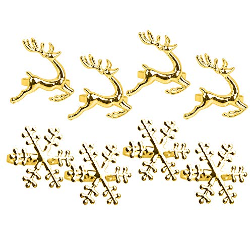 Christmas Napkin Rings Set of 8 Golden Napkin Rings Snowflake Reindeer for Christmas Lunch Thanksgiving Party Holiday Christmas Wedding Table Decoration