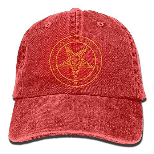 Hoswee Baseballmütze Hüte Kappe Sabbatic Goat Pentagram Satanic Star Funny Denim Hat Trucker Cap