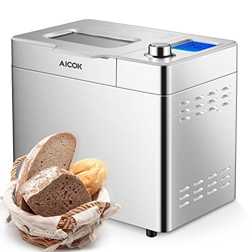 New Aicok 2LB Custom Loaf Bread Maker, 25-In-1 Automatic Programmable Bread Machine, Large LCD Displ...