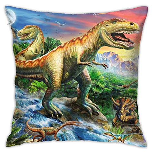 Beeder Dinosaur Jurassic 3D Printed Velvet Soft Throw Pillow Cover Square Cushion Covers Pillowcase Home Decor for Sofa Couch Bed Chair 18x18 Inch