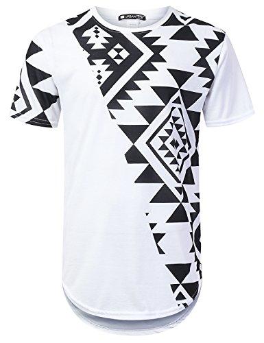 URBANTOPS Mens Hipster Hip Hop Aztec Diagonal Panel Longline T-Shirt White, M