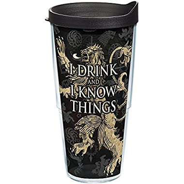 Tervis 1241845 Game of Thrones - House Lannister Tumbler with Wrap and Black Lid 24oz, Clear