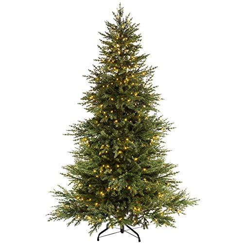 WeRChristmas Pre-lit Traditional Fir Multi-Function Christmas Tree, 350 Chasing Warm LED, Colour, 6 feet/1.8m