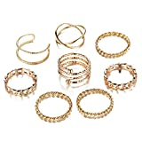 FINETOO 8 PCS Simple Knuckle Midi Ring Set Vintage Plated Gold/Silver for Women/Girl Finger Stackable Rings Set Jewelry Gifts (Gold)