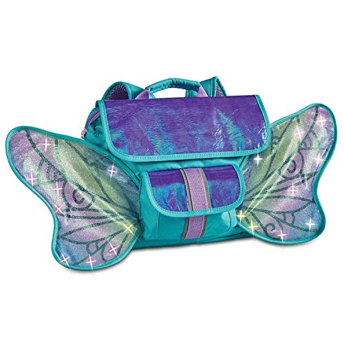 Bixbee Turquoise Fairy Light Up Wings Backpack for Boys and Girls (302008), Small, Green