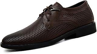 Kirabon Zapatos de Vestir de Negocios de Cuero, Zapatos de Hombre, Zapatos de papá Transpirables Huecos. (Color : Dark Brown, Size : 45)