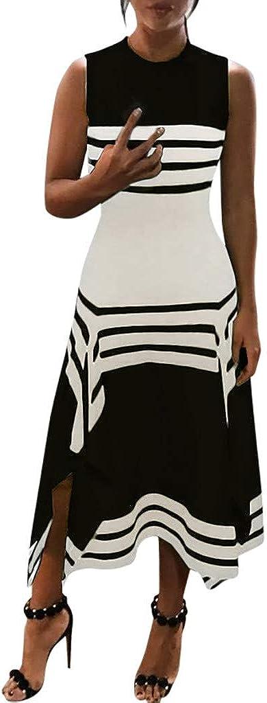 Womens Summer Dresses Stripe Patchwork O Neck Long Maxi Dress Sleeveless Casual Loose Beach Tunic Tank Dress Plus Size