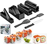 Sushi Making Kit, 13 Pcs All In One Sushi Maker Tools with Multiple Shapes Rice Mold & Sushi Knife, Easy Using Complete Sushi Set for Beginners and Professional DIY at Home