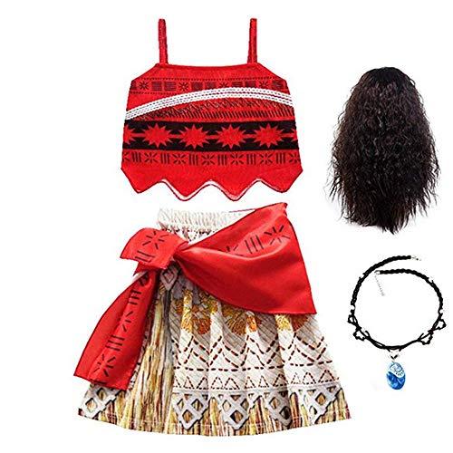 FINDPITAYA Niñas Vestido de Princesa Cosplay Costume con Collar y Peluca Disfraz Moana Fiesta Navidad Halloween Vestido de Fiesta Carnaval (Rojo, 110)