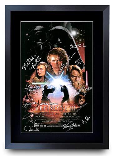 HWC Trading A3 FR Star Wars Episode III Revenge of the Sith The Cast Hayden Christensen Ewan McGregor Gifts Druckposter signiert Autogramm Bild für Film-Fans – A3 gerahmt