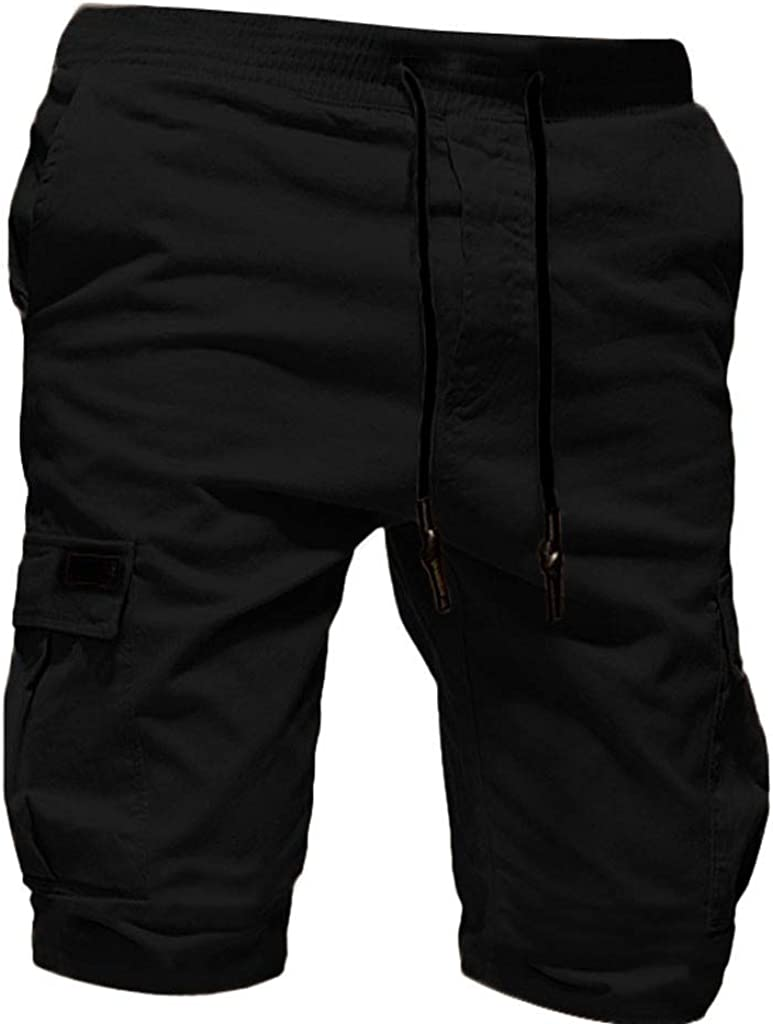 VEKDONE Mens Cargo Shorts Elastic Waist Relaxed Fit Multi-Pockets Outdoor Casual Shorts Summer Beach Slim Fit Shorts