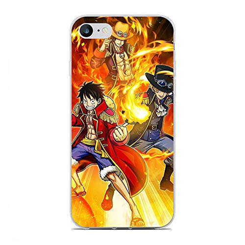 SHUAIJA Thin Clear Coque Transparent Soft Slim TPU Crystal Case Cover For Apple iPhone 7/8/SE 2020-Japanese Anime-Luffy One-Piece 5