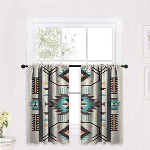 Southwestern Curtain Tiers Pattern Design from Ancient Aztec Culture with Indigenous Zigzag Motifs 30 x 36 inch Window Covering Kitchen Cafe Curtains