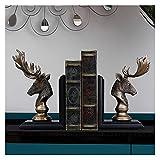 Oficina Sujetalibros Bookends Creative Retro Bookend Bookend Bookshelf Resin Anti-Moving Reserve Finaliza, Dormitorio de Oficina Armario de vino Adornos de decoración Decoración del Hogar