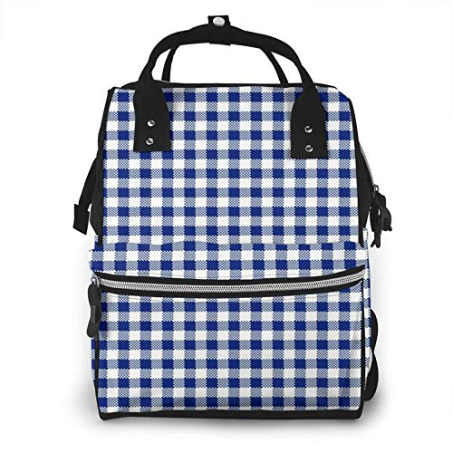 Nappy Changing Bag Backpack, Large Diaper Bags Plaid Navy Gingham Check Multi-Function Waterproof Maternity Nappy Back Pack for Baby Care Mom Dad Travel