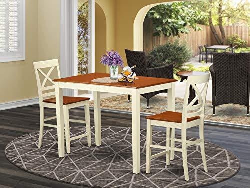 East West Furniture YAQU3-BLK-W - Juego de Mesa y 2 sillas de Comedor (3 Piezas)