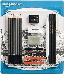 commercial Amazon Basics Drawing  Sketching Pencil Set – 17 Piece Set top drawing pencils