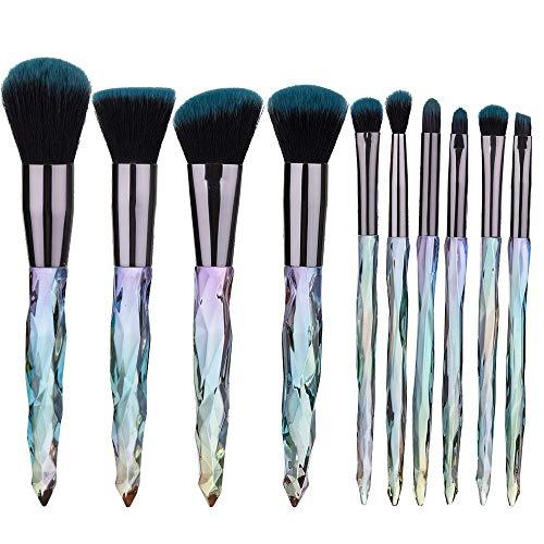 Pinceau de maquillage Set New 10 poignée en verre Fondation pinceau de maquillage Matériel fiable (Handle Color : Blue)