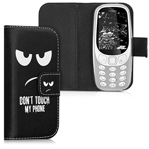 kwmobile Hülle kompatibel mit Nokia 3310 (2017) - Kunstleder Wallet Case mit Kartenfächern Stand Don't Touch My Phone Weiß Schwarz