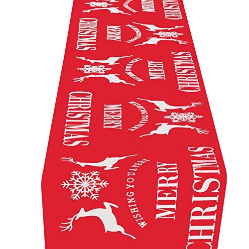HOWAF Natale Decorazione da tavola Runner Natale per Feste di Natale Cervi di Fiocchi di Neve Rossi Biancheria da tavola Runner Natalizio da Tavolo Rosso, 11 X 106 Pollici