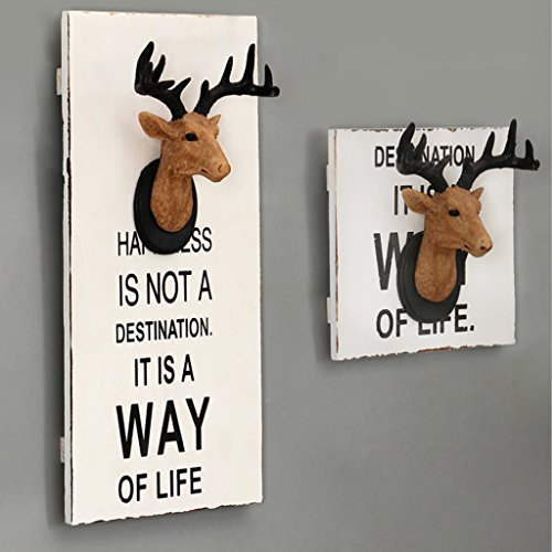 PETSOLA 3D Resin Stag Head Wall Painting Wooden Plaque Porch Hallway Entrance Deer show, L