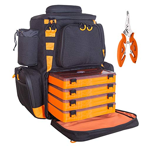 etacklepro Fishing Backpack Waterproof Tackle Bag with Protective Rain Cover Includes 4 Tackle Boxes Stainless Steel Fishing Pliers and Lanyard - Black Orange
