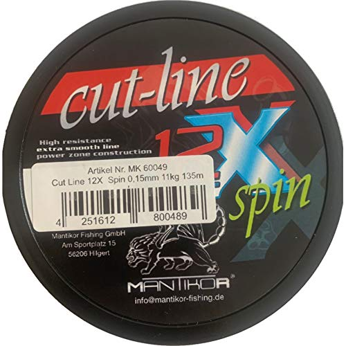Mantikor Cut Line Spin - Hilo de pesca trenzado en espiral (12 hilos, 135 m), color verde claro, 0.13mm / 8kg