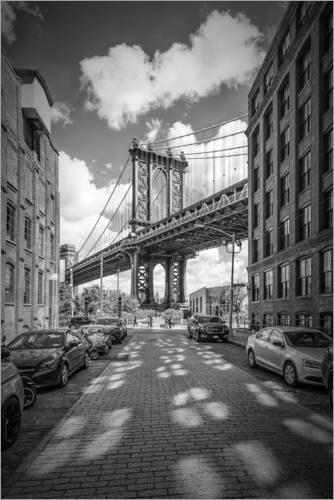 Posterlounge Acrylglasbild 20 x 30 cm: New York City Manhattan Bridge von Melanie Viola - Wandbild, Acryl Glasbild, Druck auf Acryl Glas Bild