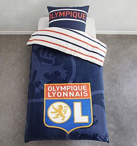 Olympique Lyonnais Parure de lit Bleu Marine Logo 1P