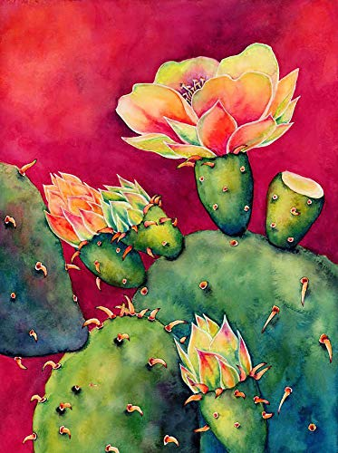 Theshai 5D Diamond Painting Succulent Plants, Cactus Paint with Diamonds Kits Round Full Drill Crystal Rhinestone Embroidery Cross Stitch Diamond Arts for Home Wall Decor (30X40cm)