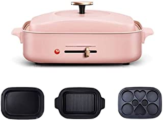 TYUIO All-in-One Compact Multifunction Cooker with Electric Skillets 4-Speed Temperature Control and 1,200-Watt Heating Plate | Electric Pan | Electric Griddle (Color : Pink, Size : A)