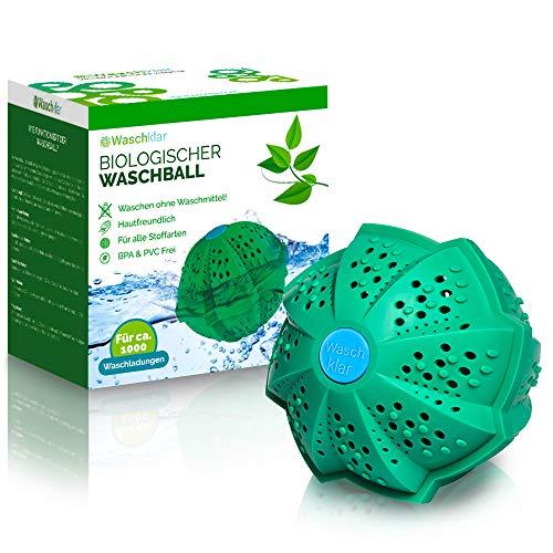 WASCHKLAR® Öko Waschball [7-FACH REINIGUNG] Saubere Wäsche OHNE Waschmittel - Waschkugel für Waschmaschine, Nachhaltige Produkte, Bio Wäscheball für Allergiker