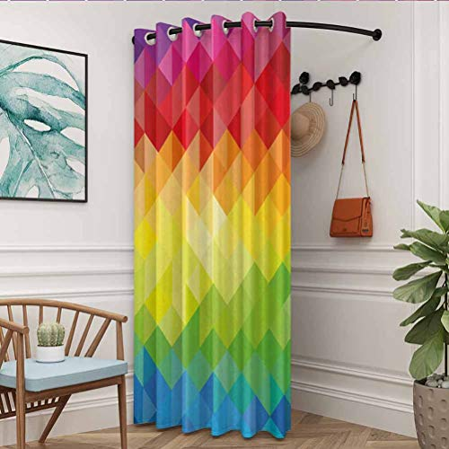 flymeeo 84' W x 96' L Colorful Home Decor Durable Drapes Thermal Insulated Grommet Blackout Geometrical Polygonal Diamond Forms with Triangle Mirroring Lines Artwork Multi