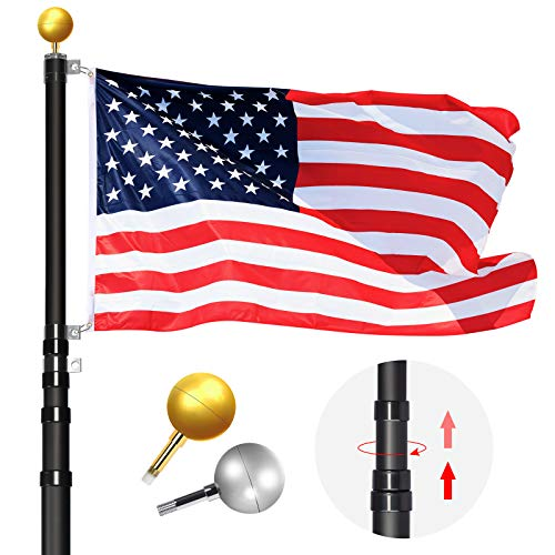 WinisKi Telescoping Flag Pole 20ft Black Extra Thick, Outdoor Heavy Duty Inground Adjustable Height Aluminum Telescopic Flagpole Kit, Golden&Silver Balls Top, 1 USA Flag, Residential Commercial Pole