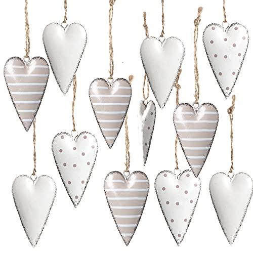 Logbuch-Verlag 12 grau weiß gepunktete Metall Blech Herzen zum Aufhängen Herzanhänger Hochzeit Weihnachten Valentinstag Ostern Muttertag shabby chic