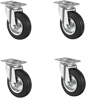 CASCOO SETSBSB100SWS4R0N wielenset 4 zwenkwielen, stalen velg, massief rubber, diameter 100 mm, transportwielen, rollager,...