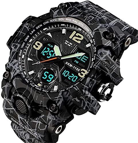 Reloj Deportivo Digital Militar Camuflaje Impermeable Multifunción Multifunción Doble Double Digital Reloj Hombre (Color: 01, Tamaño: Un tamaño) (Color : 02, Size : One Size)