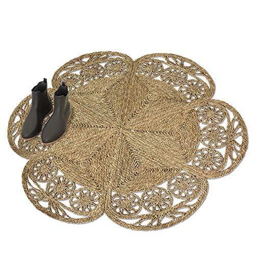 Made Terra Blumenförmiger gewebter Teppich für Wohnzimmer, Schlafzimmer, Bodenmatte, geflochten, rutschfest, faltbar, Naturfaser, Seegras, Größe M, 120 cm