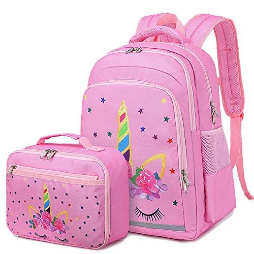 CAMTOP Backpack for Kids Girls School Backpack with Lunch Box Preschool Kindergarten BookBag Set (Pink-Unicorn)