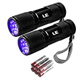 LE Small UV Flashlight, Portable Black Light with 9 LEDs, 395nm, Ultraviolet Light Detector for Invisible Ink Pens, Pet Dog Cat Urine Stain and more, AAA Batteries Included, Pack of 2
