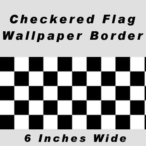 Checkered Flag Cars Nascar Wallpaper Border-6 Inch (No Edge) by CheckeredWallpaperBorder.com