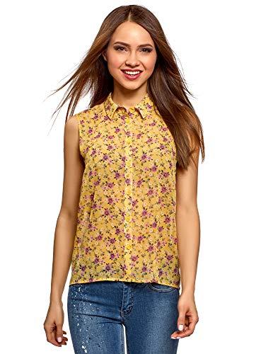 oodji Ultra Mujer Blusa de Tejido Fluido con Cuello de Camisa, Amarillo, ES 44 / XL
