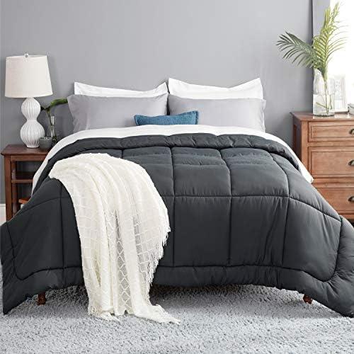 Bedsure Grey Comforter Queen Duvet Insert Quilted Bedding Comforters for Queen Bed with Corner product image