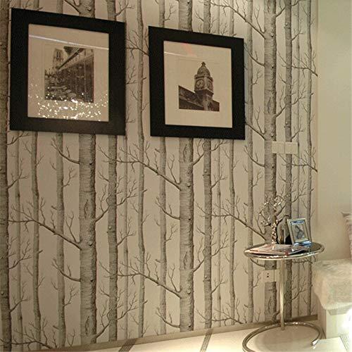 Woonn berkenboom patroon hout behangrol moderne designer wandbekleding eenvoudig zwart-wit behang voor 11
