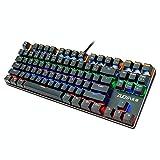 Teclado mecánico de 87 teclas Teclado con cable para juegos RGB Mix retroiluminado con un solo clic y comentarios táctiles, ofrece un buen sentido del tacto, sensible y atractivo